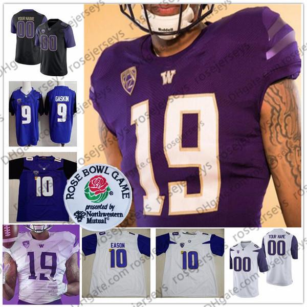 Custom Washington Huskies 2019 Nueva Marca de Fútbol Cualquier Nombre Número Negro Púrpura Blanco # 10 Jacob Eason 26 Salvon Ahmed Hombres Juventud Jersey 4XL