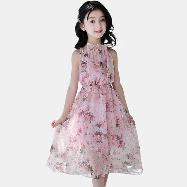 Girls Dress Floral Summer Bohemia Beach New Dresses For Girls Long Kids Dresses Chiffon Teen Clothing For 4 6 8 14 Years