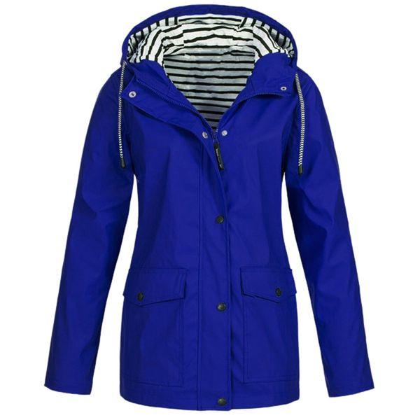 Plus Size Women Solid Rain Jacket Outdoor Waterproof Hooded Raincoat Windbreaker Climbing Camping Trekking Rain Coat