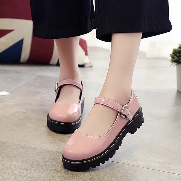 With Single Autumn England Small Fresh Coarse Honor2019 Student Leather Circle Head One Buckle Bring Women's Shoes A Doll Shoe