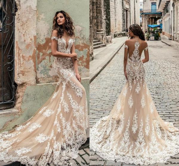 top popular Champagne Julie Vino Wedding Dresses 2020 Off Shoulder Deep Plunging Neckline Bridal Gowns Sweep Train Lace Wedding Dress Custom Made 2019