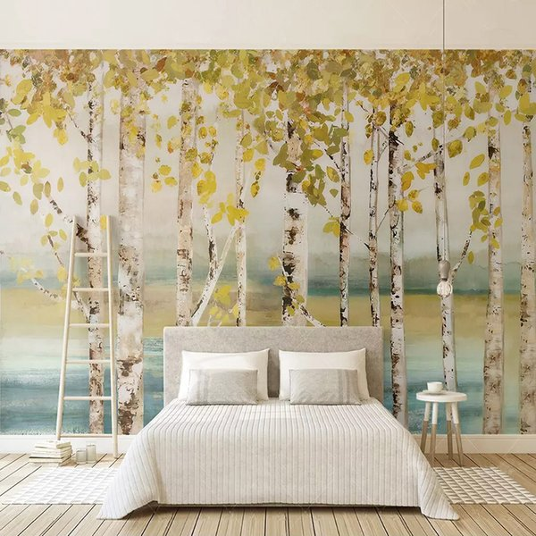 Mural Wallpaper 3D Birch Forest Oil Painting Photo Wall Paper Living Room TV Sofa Home Decor Art Wall Coverings