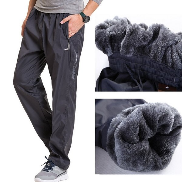 Fleece Thick Pants Men Outside Winter Pant Velvet Warm Straight Thermal Mens Wool Pants Heavyweight Zipper Trousers male joggers #387414