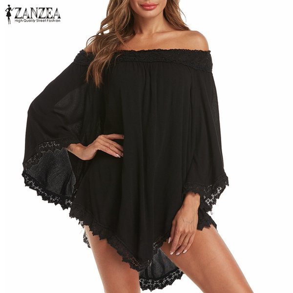 ZANZER Oversized Women Long Sleeve Blouse Casual Baggy Solid Color Lace Up Asymmetric Hem Off Shoulder Shirt Tunic Tops Blusas SH19010