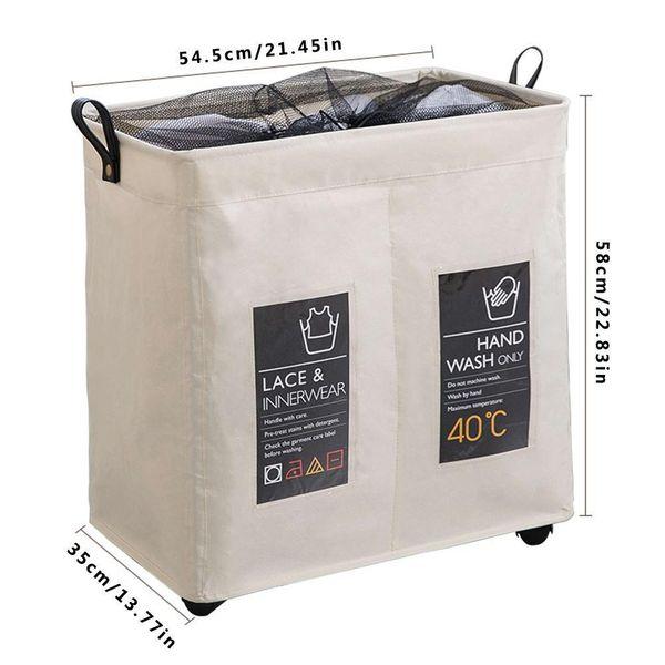Rolling Wheel Corner Durable Laundry Hamper Clothes Storage Basket Bin Organizer Washing Bag