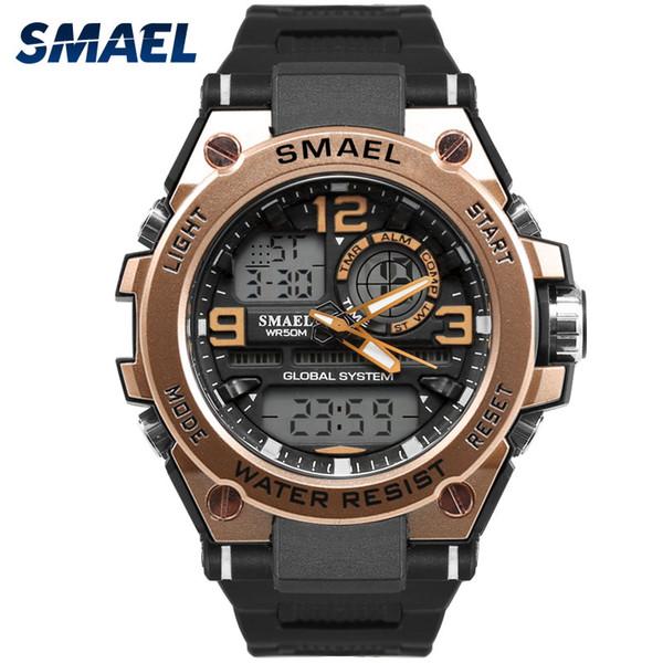 Luxuly Men's Wrist Watch Gold Digital Watch Man Waterproof 50m LED Clock Man Big Dial Sport Clock