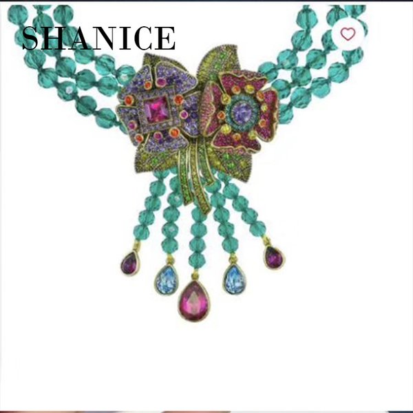 SHANICE DIY Jewelry BigColorful Flowers CZ Micro Paved Crystal Necklace Pendant Connectors For Fine Jewellery Bracelets Making