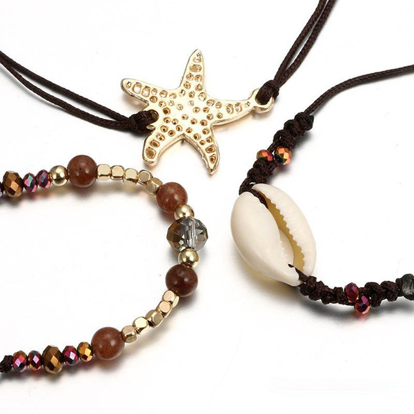 Boho Turtle Pearl Bead Bracelet chaîne étoile de mer Sandale Plage Pied Pieds Nus Bracelet