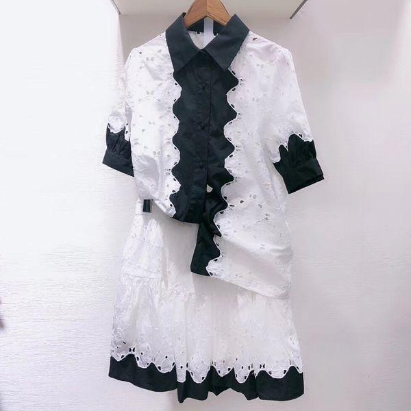 Hollow Out Set 2 Piece Set Women Skirt Top 2019 Summer Short Sleeve Blouse And Mini A-line Skirt Suit High Quality