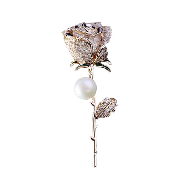 Tahitian Pearl Rose Brooch Bouquet Vintage Look White Gold Clear Rhinestone Crystal Flower and Bow Wedding Bouquet Brooch Pin Wedding Decor