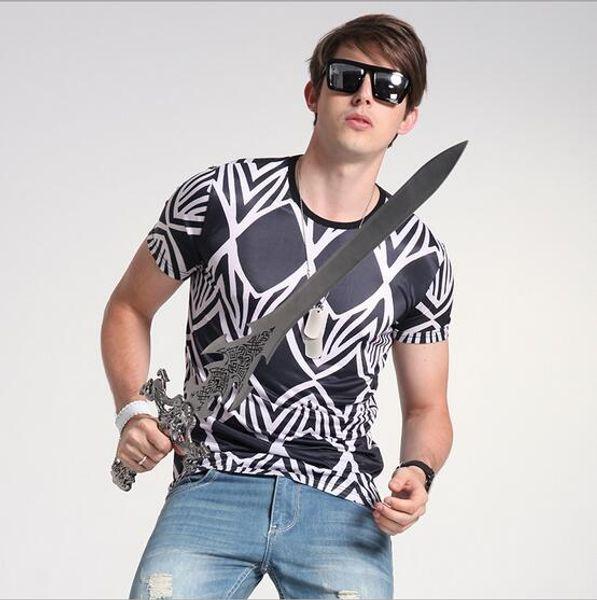 Summer New Men Fashion Print Tshirts Silk Men's Wear T shirt Round Neck Mens Tshirts Creative T Shirt 3D design Tees