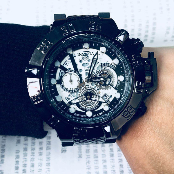 Black INVICTA Calendar Movement Quartz Men's Watch DZ7333 All functions are operational Silicone belt 52MM large dial