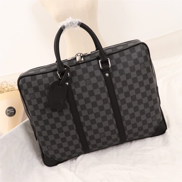 Hot classic black letter logo leather men Briefcases bag fashion men leather shouler bag free shipping N41125
