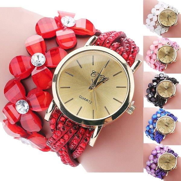 6901e6c2689 CCQ que brilha o relógio elegante fêmea do bracelete do cristal de rocha da  flor do