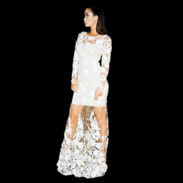 Klasik Beyaz Gelinlik Modelleri Seksi Illusion Uzun Kollu Jewel Boyun Kat Uzunluk Abiye Tül Fermuar Geri Astar Kokteyl Parti törenlerinde