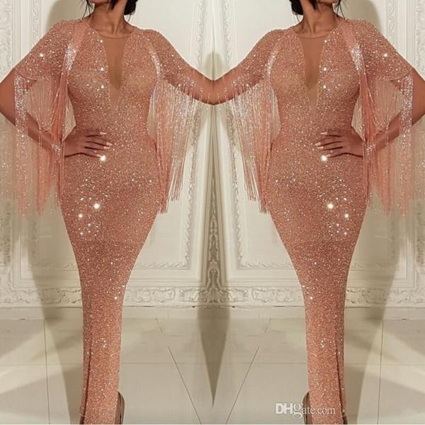 2019 Arabisch Durchsichtig Pailletten Meerjungfrau Ballkleider Rose Gold Quaste Abendkleider Knöchellänge Split Cocktail Party Kleider