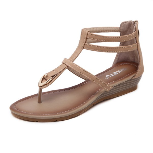 Women's Sandals Metal Flats Heels Summer Comfortable Large-size Roman Shoes Ladies Flip Flops Beach Shoes