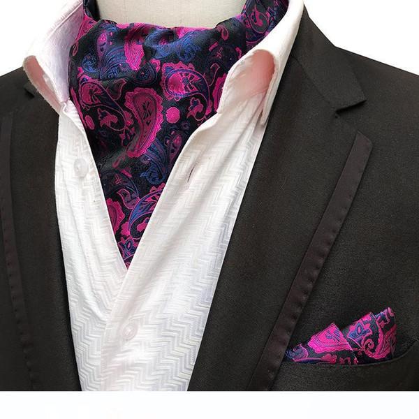 2PCS Uomini Jacquard Pochette Groom Wedding Tuxedo Foulard Ascot Scrunch banchetti Cravatta Paisley Seta Cravatta Fazzoletto Set