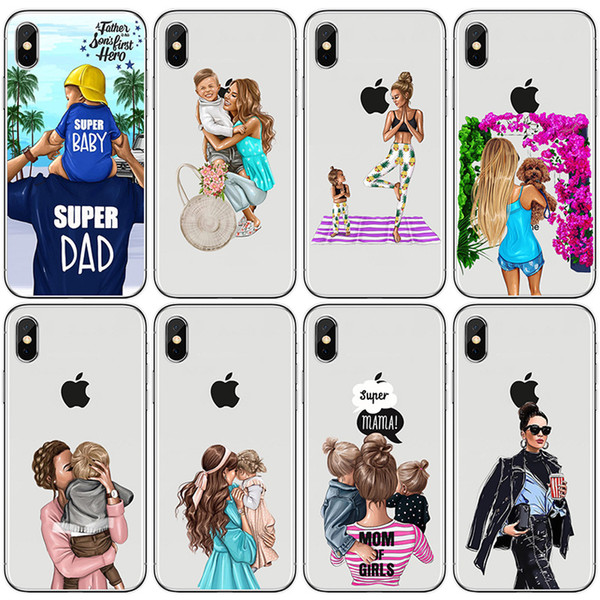 Soft TPU Transparent Phone Case For iPhone X 6 6S 8 7plus 5S XS Max XR Samsung Galaxy S7 Edge S8 S9 Plus Note 8 9 Fashion Girl Painted Cover