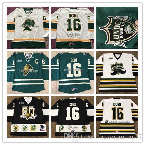 Maillot de Known de Londres usé n ° 16 MAX DOMI COA 2013-14 OHL Movember 1965-2015 maillot de hockey noir blanc vert
