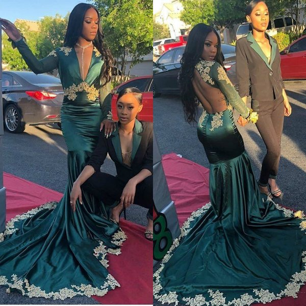 Mermaid Dark Green Prom Dresses 2019 Long Sleeve Cheap Sexy Illusion Open Back Gold Applique Evening Gowns Formal wear for Black Girls Cheap