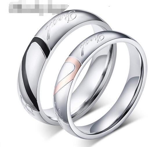 2018 New Fashion Heart Ring Lovers Wedding Rings Stainless Steel Wedding Rings for Men and Women