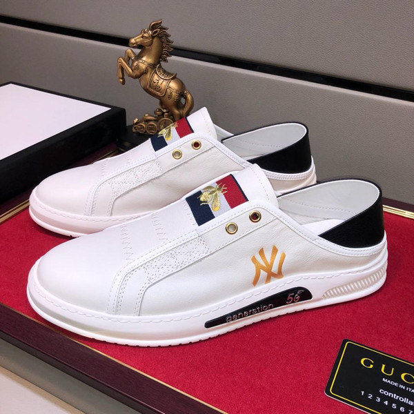 2019 sonbahar lüks tasarımcı high-end özel erkek deri moda vahşi spor ayakkabı, eğilim kişilik düşük üst rahat ayakkabılar, boyutu: 38-44