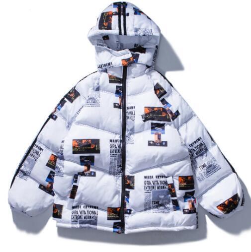 Imprimir carta con capucha Parkas chaquetas 2019 invierno cálido algodón Parka chaqueta abrigo Harajuku Streetwear Et37