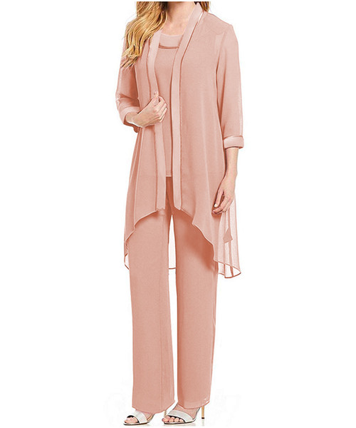 Women's 3 pieces Draped Chiffon Mother of The Bride Dress pants suit Long Sleeves with jacket outfit for wedding groom 2019