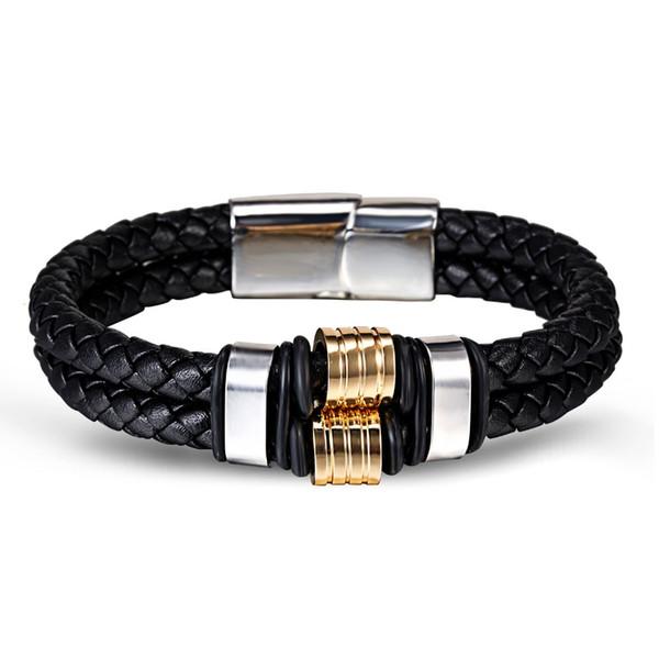 Hommes noirs métalliques en acier inoxydable cuir tressé bracelet corde chaîne Bangle cadeau