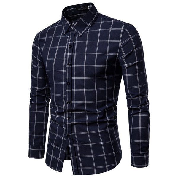 Brand 2019 Fashion Male Shirt Long-sleeves Tops Rice White Lattice Mens Dress Shirts Slim Men Shirt S-xxl