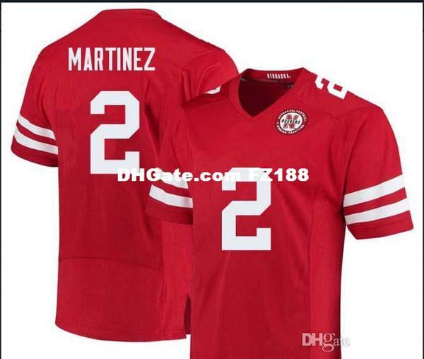 Männer Lady und Jugend Nebraska Cornhuskers Adrian Martinez # 2 echte Vollstickerei Jersey Größe S-4XL oder benutzerdefinierte jeden Namen oder Nummer Jersey