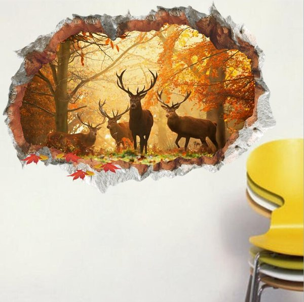 Hot Wall Stickers Designer Elk Forest 3D Broken Wall Stickers Bedroom Living Room Waterproof Stickers Free Shipping