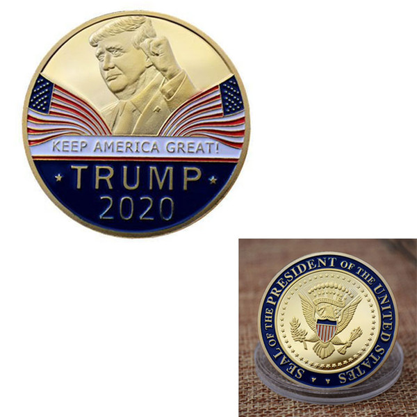 top popular Keep America Great 2020 Donald Trump Commemorative Coin American President Gold Coins Silver Badge Metal Craft Collection Republican 2021