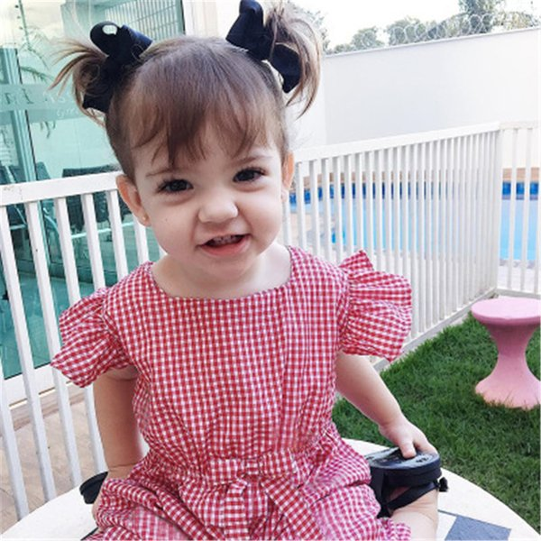 Baby Girls Clothes Plaid Baby Rompers Line Romper Little Baby Clothes Big Bow Infant Girls Jumpsuits Pink Black Infant For Party
