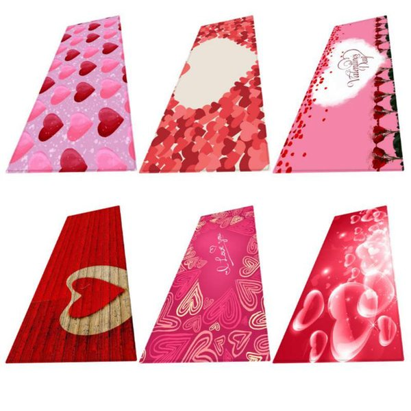 Valentine's Day Home Party Flannel Fabric Area Rug 3D Rose Printed Home Decoration Red Rose Pattern Water Absorbency Carpet