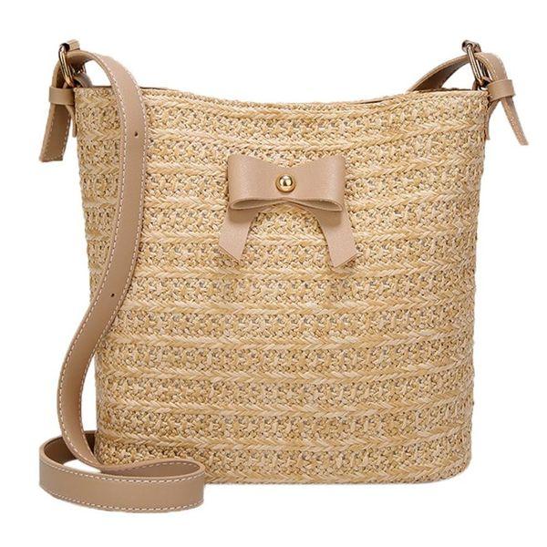 Leisure woven butterfly Knot single shoulder bag straw bag bucket messenger Sac Pochette Femme #YL5