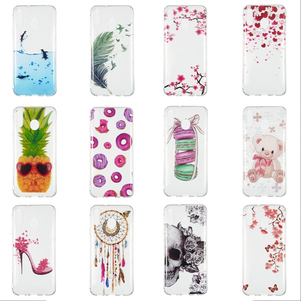 Flower Soft TPU IMD Case For Huawei P30 Lite Y6 Y7 Pro 19 Galaxy M30 M20 M10 A70 A50 A40 Pineapple Lace Butterfly Dolphin Skull Donut Covers