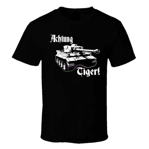 Mens Achtung Kaplan WW2 Alman Deutschland Wehrmacht Panzer Tank Siyah Tee Gömlek Dünya Savaşı 2 Askeri Zırh T-shirt