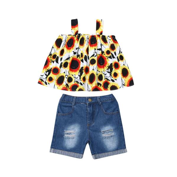 Toddler bébé filles vêtements débardeurs de tournesol robe Top Denim déchiré Jeans Shorts 2PCS vêtements pour enfants tenues d'été Set Sunsuit 0-5Y