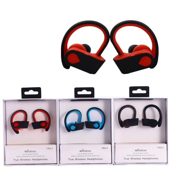 Wireless Bluetooth Sport Headphones TWS 3 Wireless Call Stereo Ear Hook  Auto Connect Bluetooth Headset With Retail Box Wireless Headsets For Phones