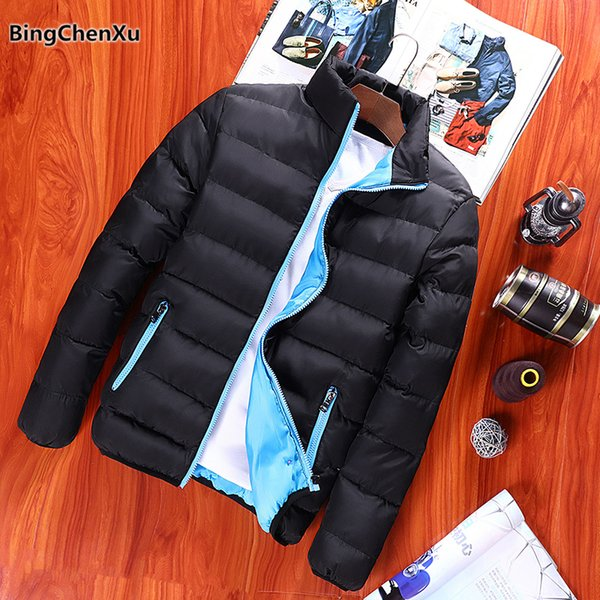 Winter Jacket Parka Men Slim Fit Warm Parka Coat Male Cotton-Padded Jackets 2018 New Fashion Stand Collar Warm Windbreakers 1168