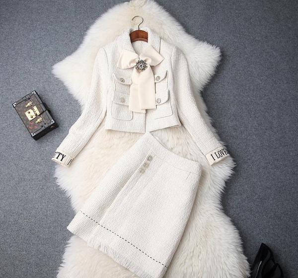 Avrupa ve Amerikan kadın 2018 kış giyim yeni ilmek Uzun kollu ceket Moda etek Tweed takım