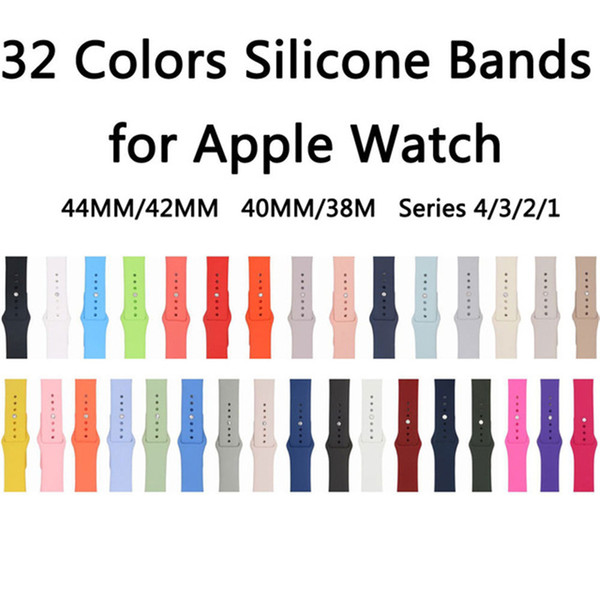 32Colores Dark Olive / Rose Red / Cocoa / Pink Sand Correa de silicona para Apple Watch Band 44mm / 42mm 40mm / 38mm Series 4/3/2/1