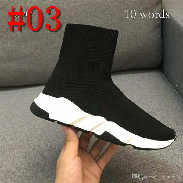 New Designer casual meia sapatos de marca de velocidade Trainer preto moda meias botas Sneaker Trainer sapatos 34-44 com 2 palavras ou 10 palavras marca