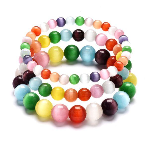 6mm 8mm 10mm Simple Fashion Round Ball Beaded Bracelets Rainbow Multi Color Cats Eye Opal Stone Wristband Bracelets Women Gifts