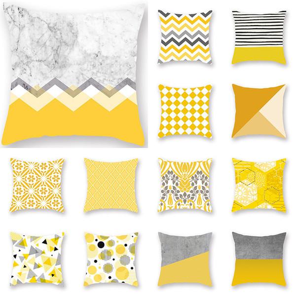Giallo cuscino della cassa del cuscino geometrico Glamour stampa quadrata federa cuscino home office divano auto decorazione 16 stile WX9-1245