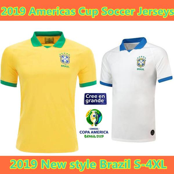 S-4XL 2019 Brezilya Amerikan Kupası Ev Sahibi Deplasman Futbol Formaları 19 20 Özelleştirilmiş Brezilya D. COSTA P. COUTINHO MARCELO G. JESUS numarası Futbol forması