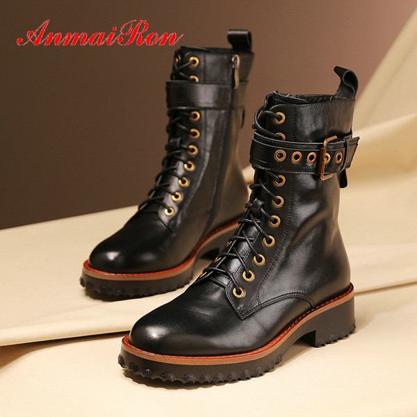 ANMAIRON 2019 Fashion Winter Boots Women Genuine Leather Lace Up Motorcycle Boots Platform Round Toe Women Shoes 34 42 Low Boots Cheap Shoes Online