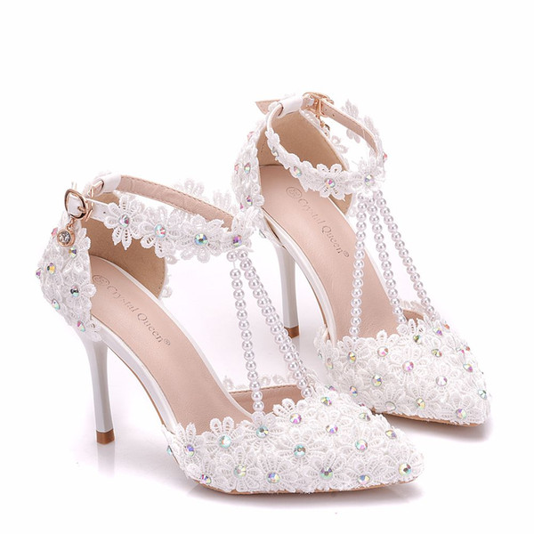 Downton Handmade Pearls and Lace Wedding Shoes pointed toe Bridal Shoes bridesmaid Prom Party Shoe with Crystals Anklets heel 9cm size 34-42